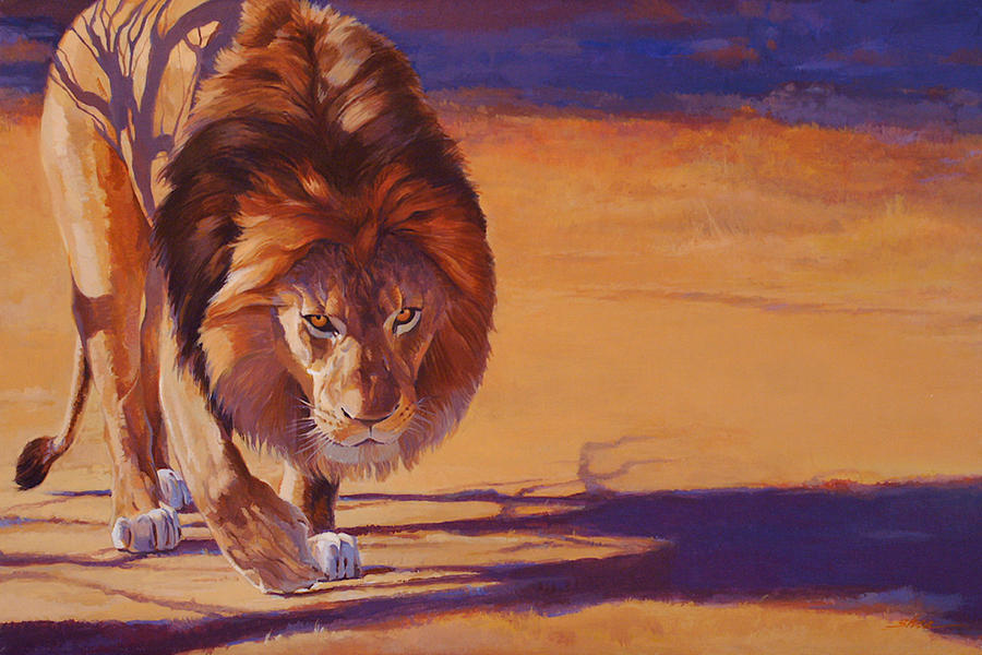 Within Striking Distance African Lion Painting By Shawn Shea