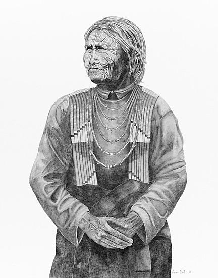 Native American Drawing - Witness by Andrea  Ford