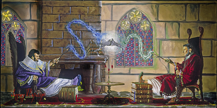 Jeffrey V. Brimley Painting - Wizards Duel by Jeff Brimley