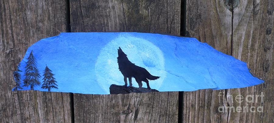 Wolf Painting - Wolf Howl1 by Monika Shepherdson