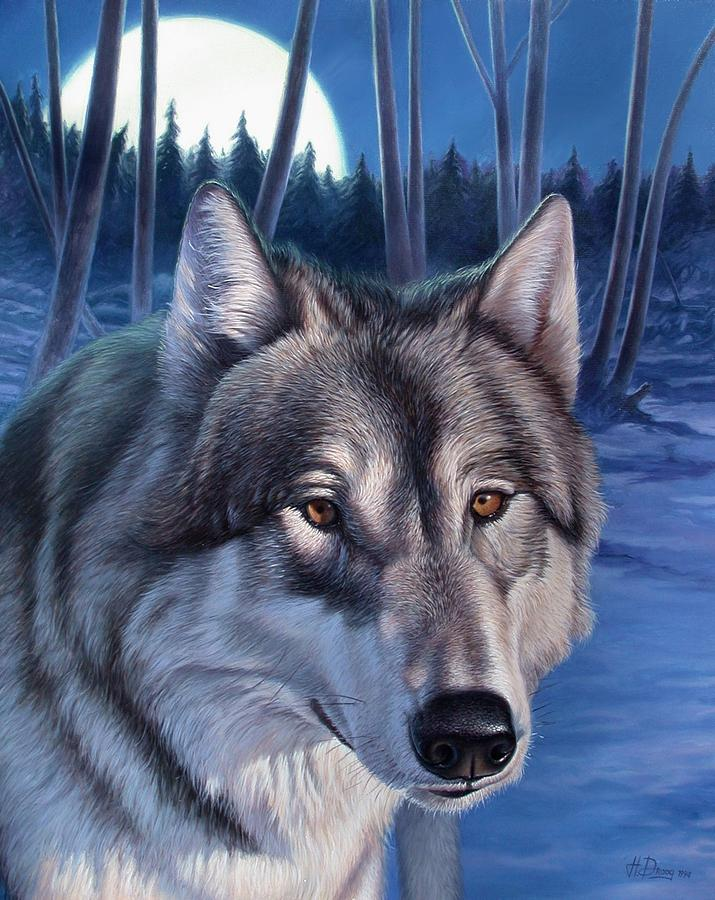 Wolf Painting - Wolf In Moonlight by Hans Droog