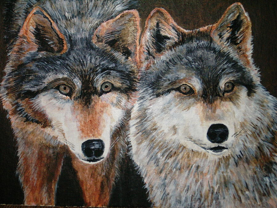 Wolves Painting by Voica Radu