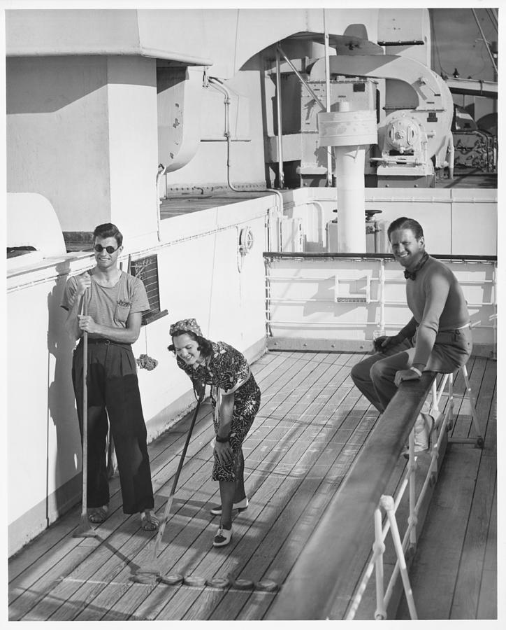 Adult Photograph - Woman And Two Men On Cruiser Deck, (b&w), Elevated View by George Marks
