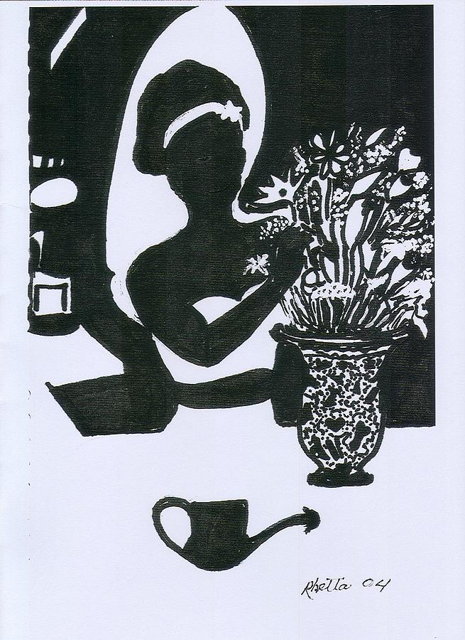 Woman Drawing - Woman Arranging Flowers 1 by Rhetta Hughes