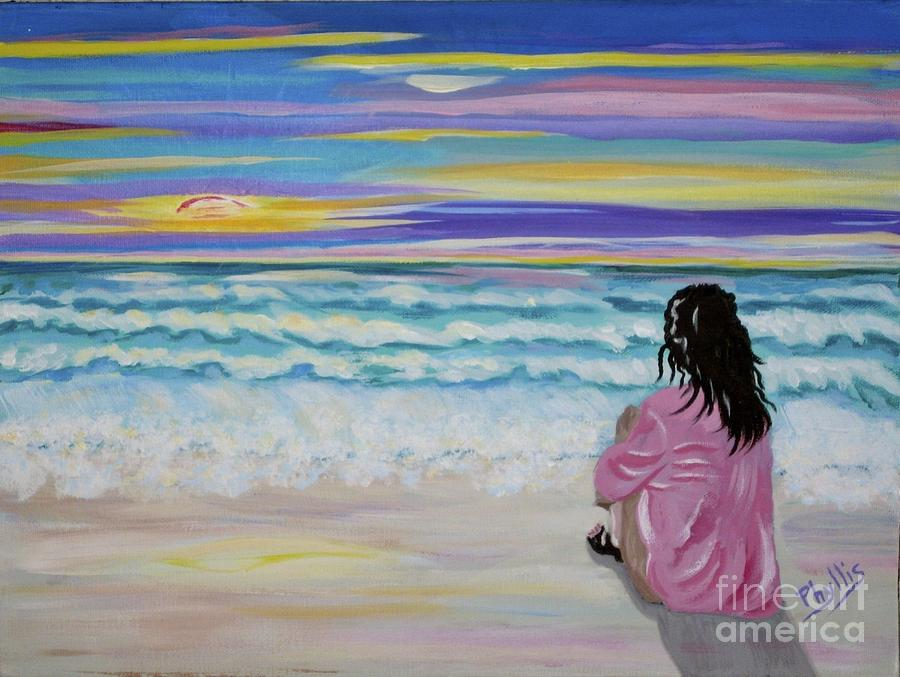 Lady Painting - Woman By The Sea by Phyllis Kaltenbach