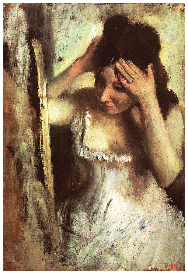 Portriat Painting - Woman Combing her Hair Before a Mirror by Edgar Degas
