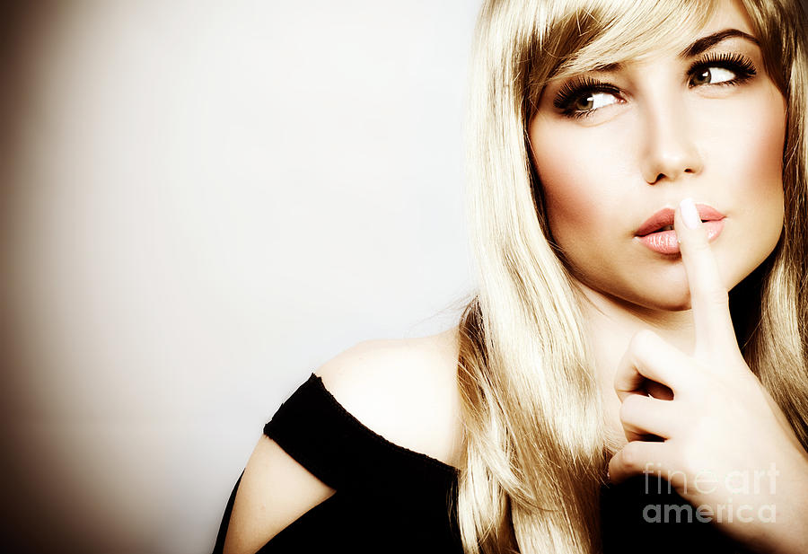 Adult Photograph - Woman Expressions Hush by Anna Om
