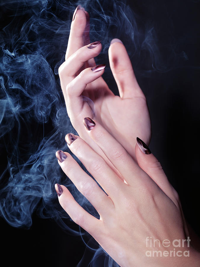 Hands Photograph - Woman Hands In A Cloud Of Smoke by Oleksiy Maksymenko