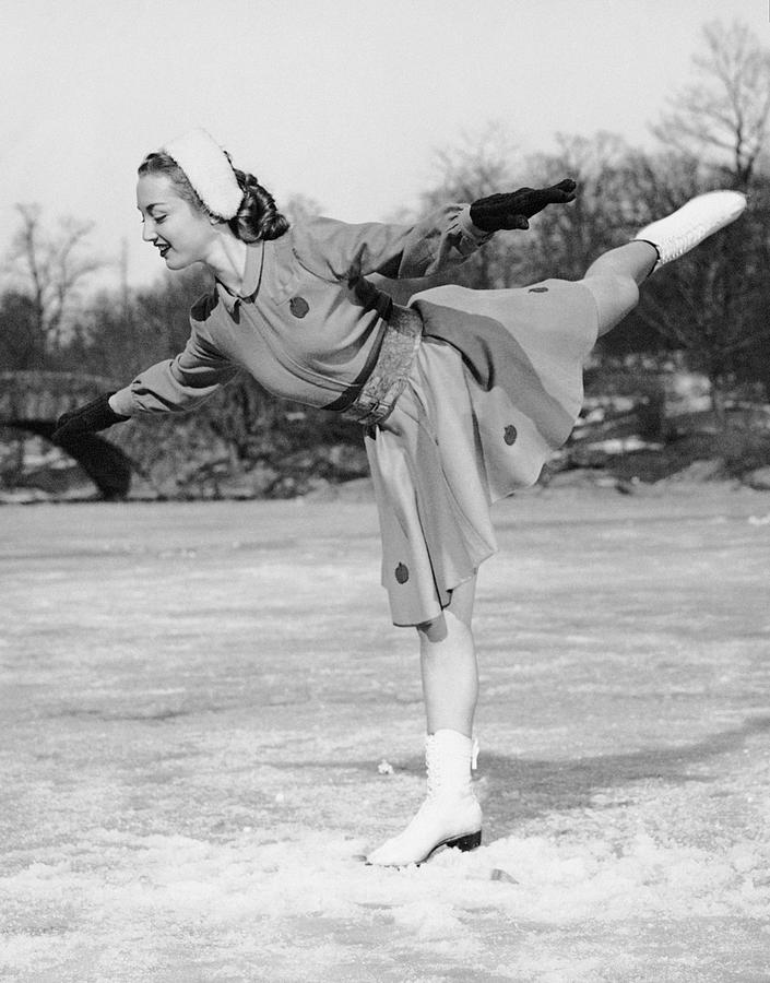 Adult Photograph - Woman Ice Skating by George Marks