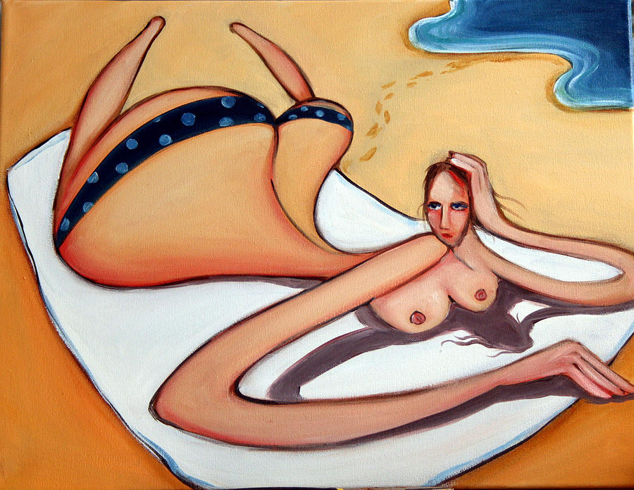 Beach Painting - Woman In January by Leanne Wilkes