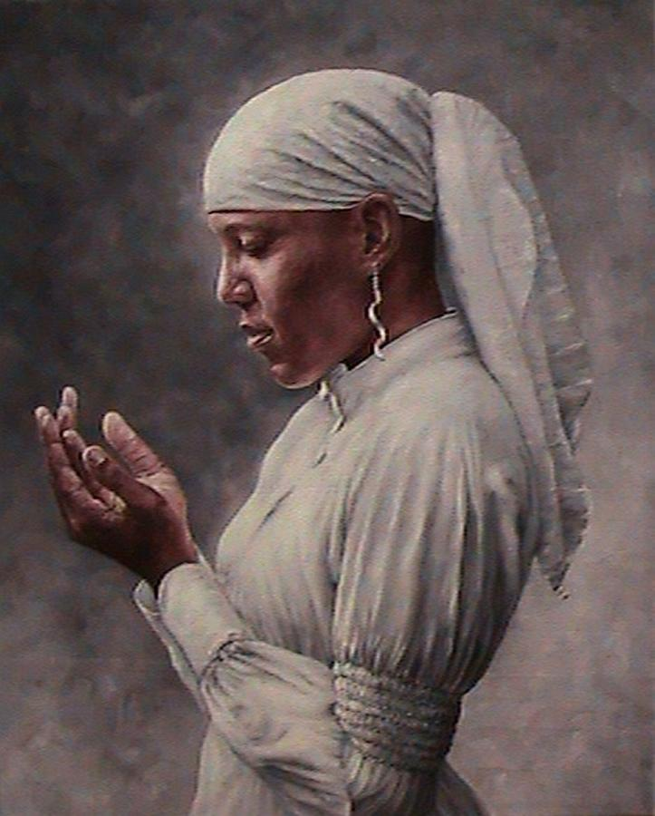 woman in prayer painting by myfa therzson
