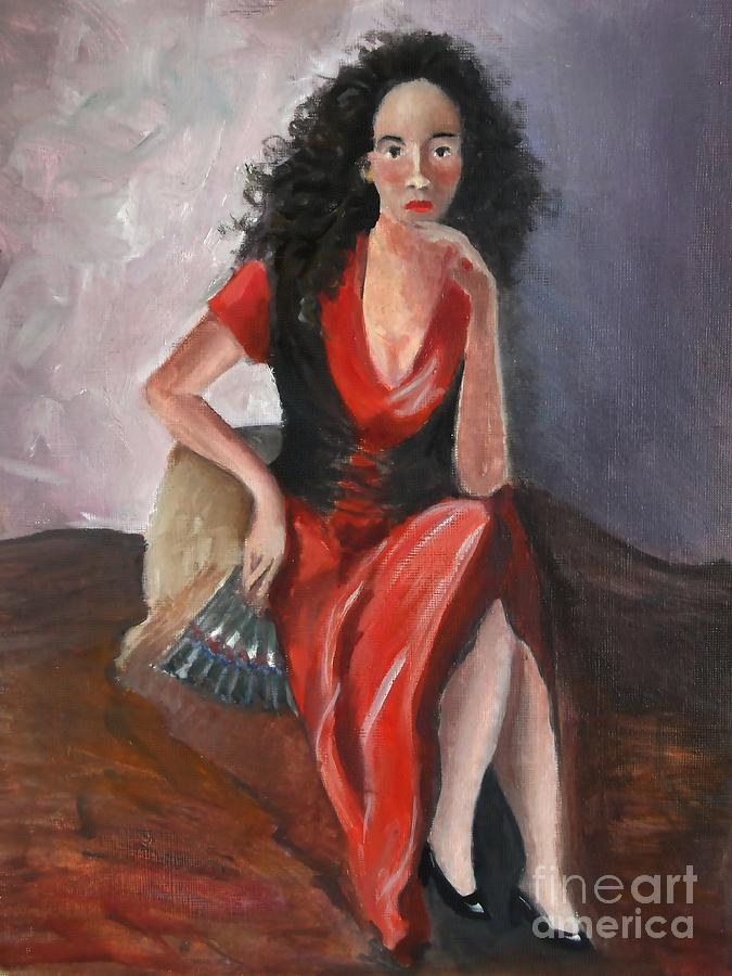 Impressionism Painting - Woman In Red - Inspired By Pino by Kostas Koutsoukanidis