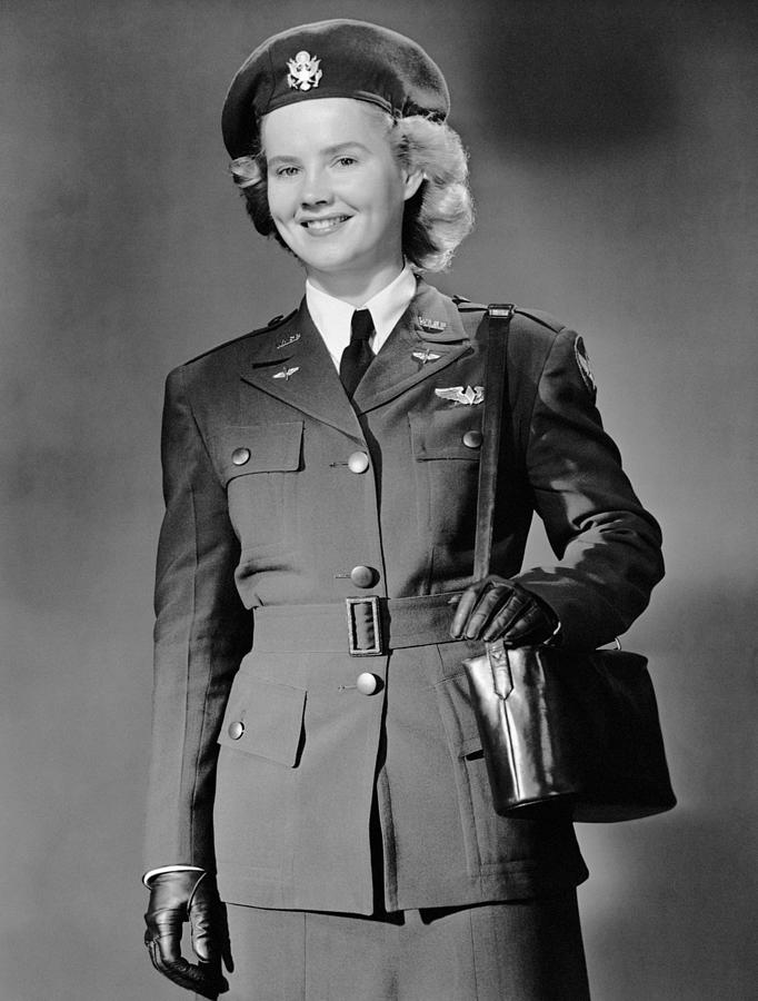 Adult Photograph - Woman In Uniform by George Marks