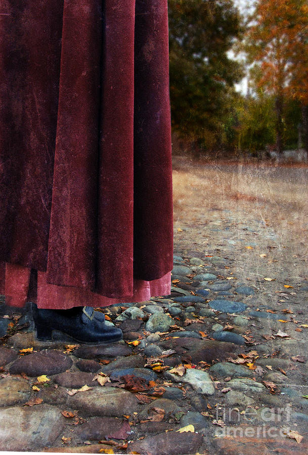 Woman Photograph - Woman In Vintage Clothing On Cobbled Street by Jill Battaglia