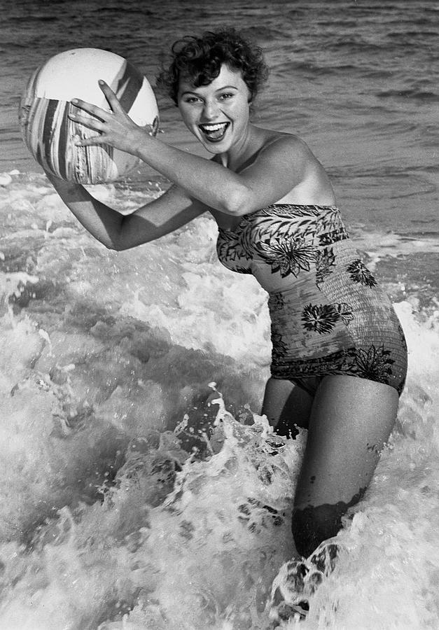 Adult Photograph - Woman In Water W/beachball by George Marks
