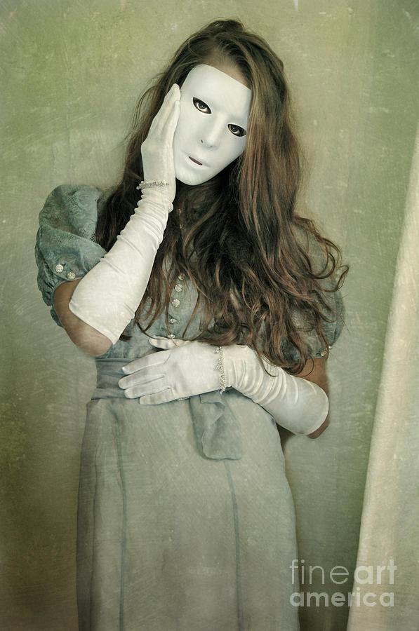 Woman Photograph - Woman In White Mask Wearing 1930s Dress by Jill Battaglia