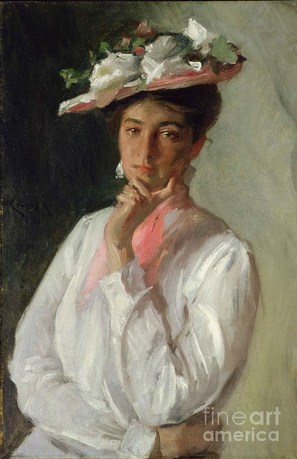 Female Painting - Woman In White by William Merritt Chase
