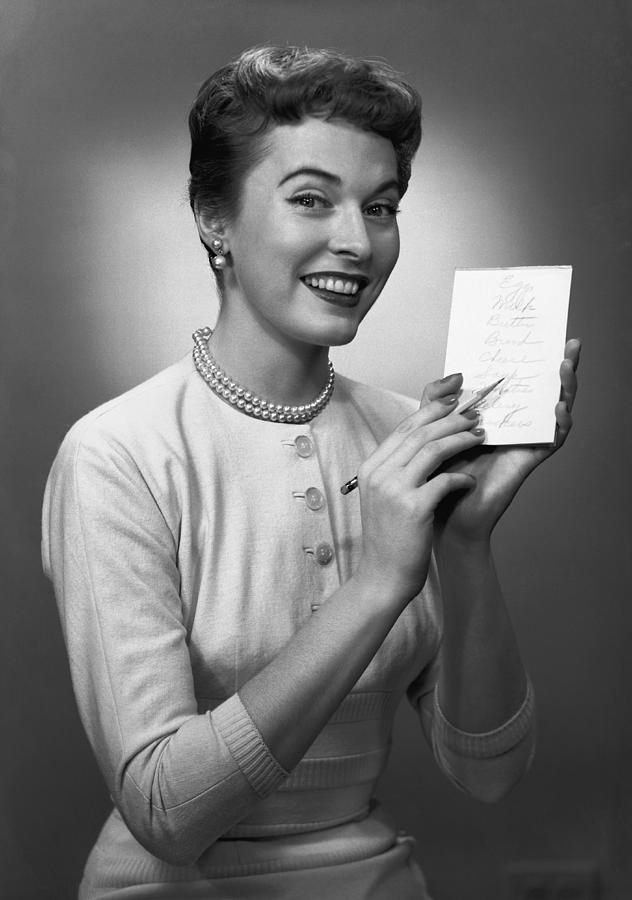 Adult Photograph - Woman Note Pad Posing In Studio, (b&w), Portrait by George Marks