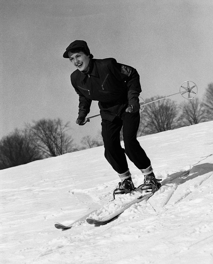 Adult Photograph - Woman On Ski Slopes by George Marks