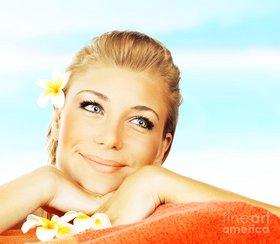 Beach Photograph - Woman On Spa Massage Bed On The Beach by Anna Om