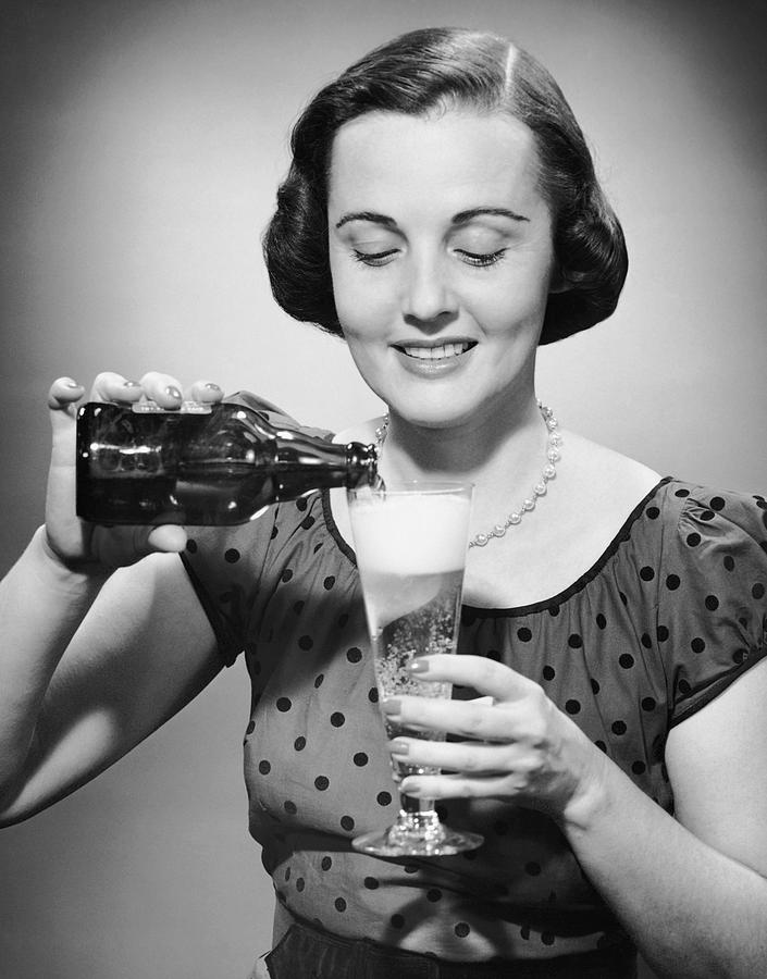 Adults Only Photograph - Woman Pouring Alcoholic Beverage by George Marks
