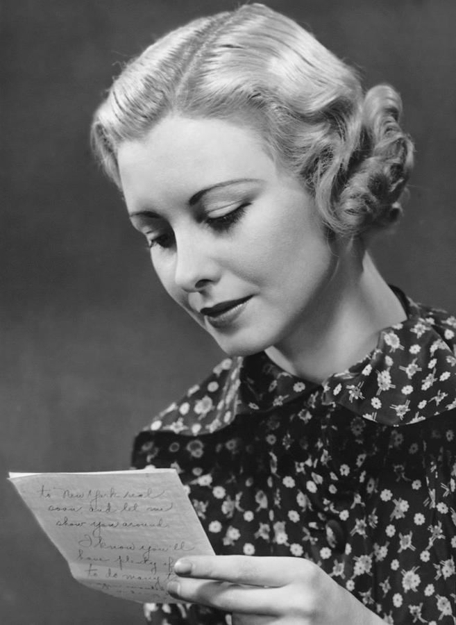 Adult Photograph - Woman Reading Letter by George Marks