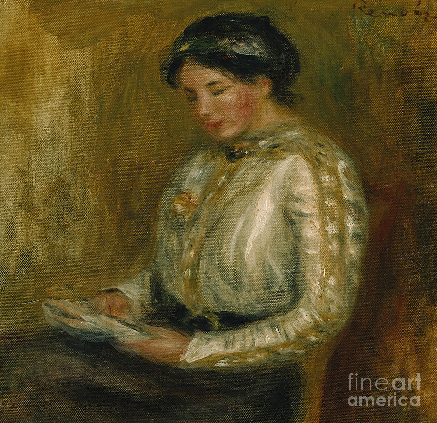 Woman Reading Painting - Woman Reading  by Pierre Auguste Renoir