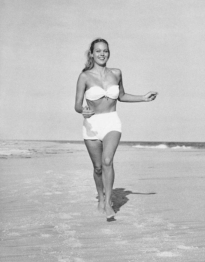 Adults Only Photograph - Woman Running On Beach by George Marks