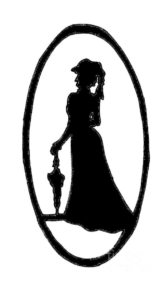 Artwork digital art woman silhouette black on white by jeannie atwater jordan allen