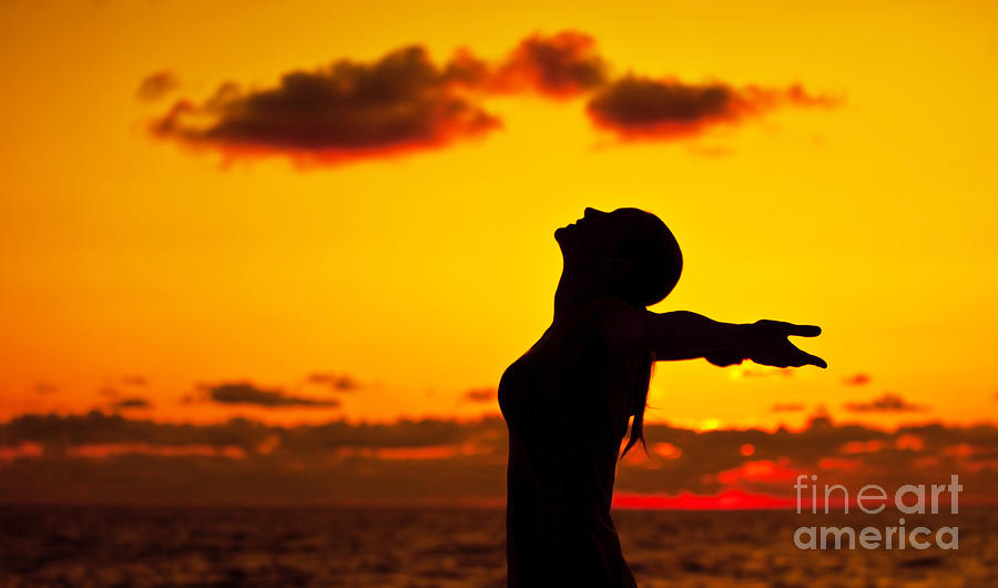 Active Photograph - Woman Silhouette Over Sunset by Anna Om