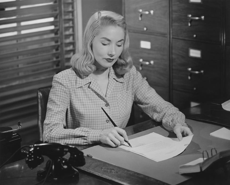 Adult Photograph - Woman Sitting At Desk, Writing Letter, (b&w) by George Marks