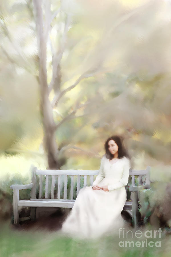 Antique Photograph - Woman Sitting On Park Bench by Stephanie Frey