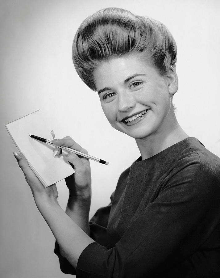 Adult Photograph - Woman Smiling W/pen & Pad by George Marks