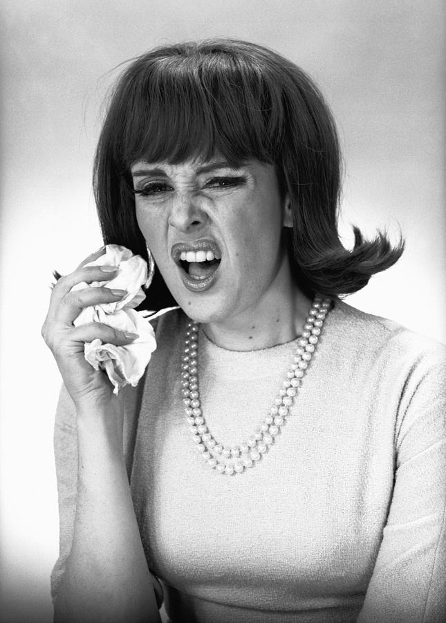 Adult Photograph - Woman Sneezing In Studio, (b&w), by George Marks