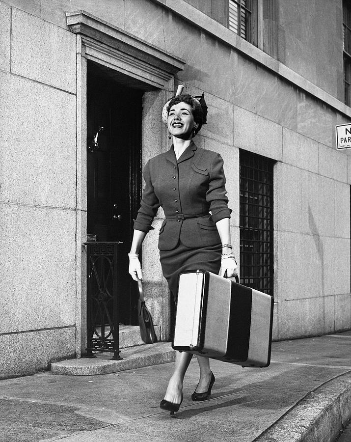 Adult Photograph - Woman Traveling by George Marks