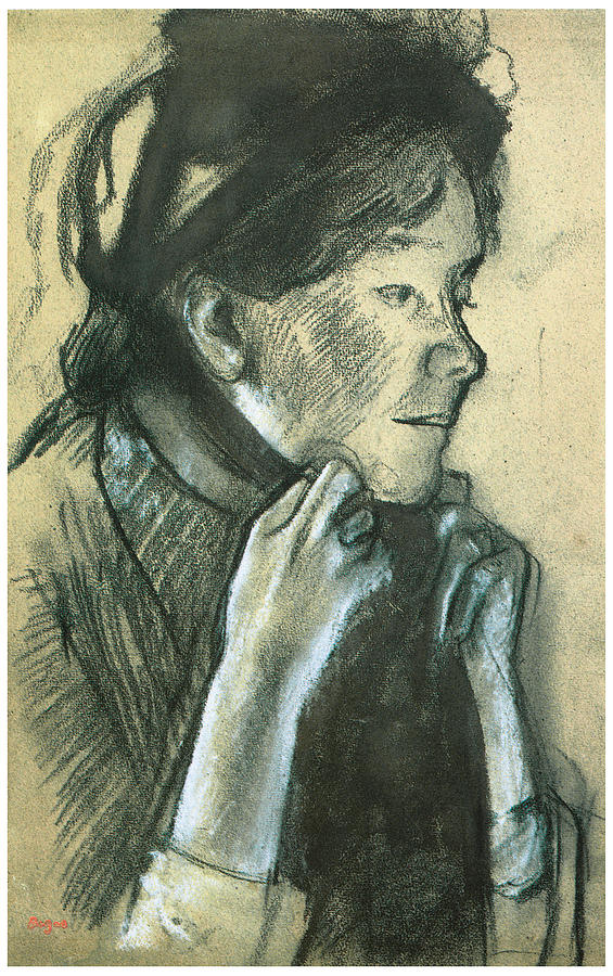 Woman Tying The Ribbons Of Her Hat Drawing - Woman Tying The Ribbons Of Her Hat by Edgar Degas