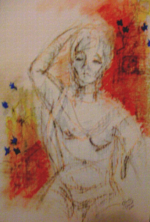 Woman Mixed Media - Woman Washing Hair By Stream by Cj Carroll