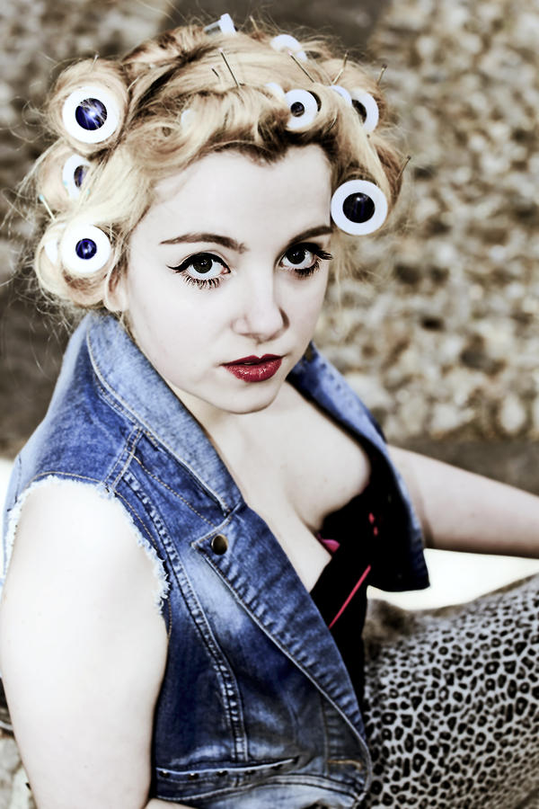 Young Photograph - Woman With Curlers by Joana Kruse