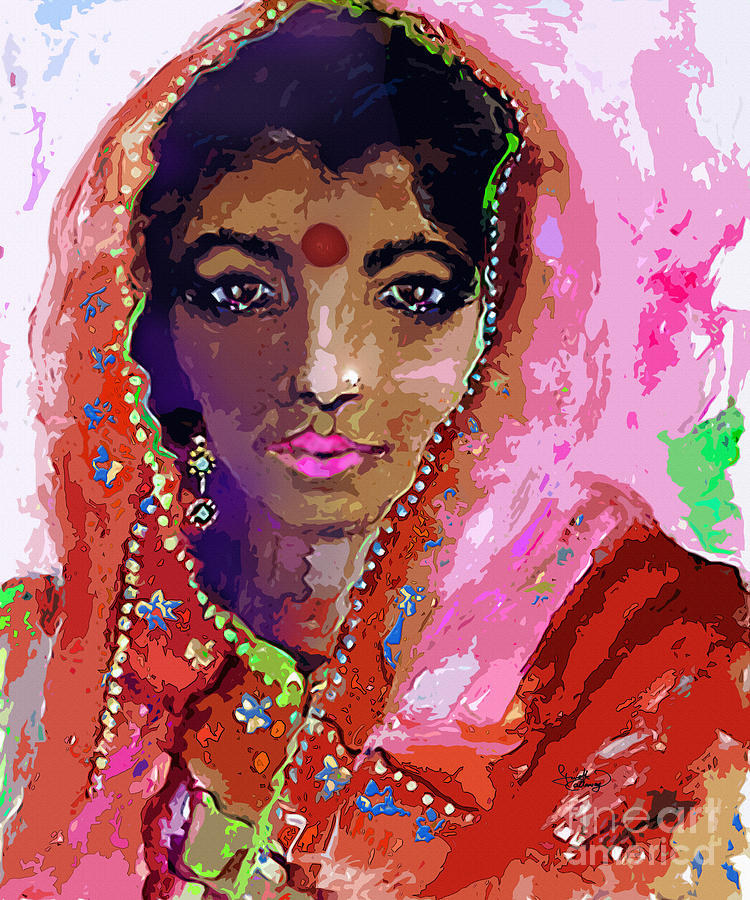 India Painting - Woman With Red Bindi Indian Beauty by Ginette Callaway