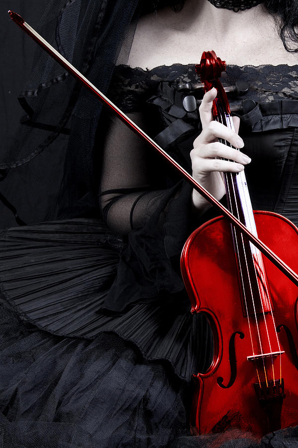 Woman With Red Violin Photograph By Ethiriel Photography-3103