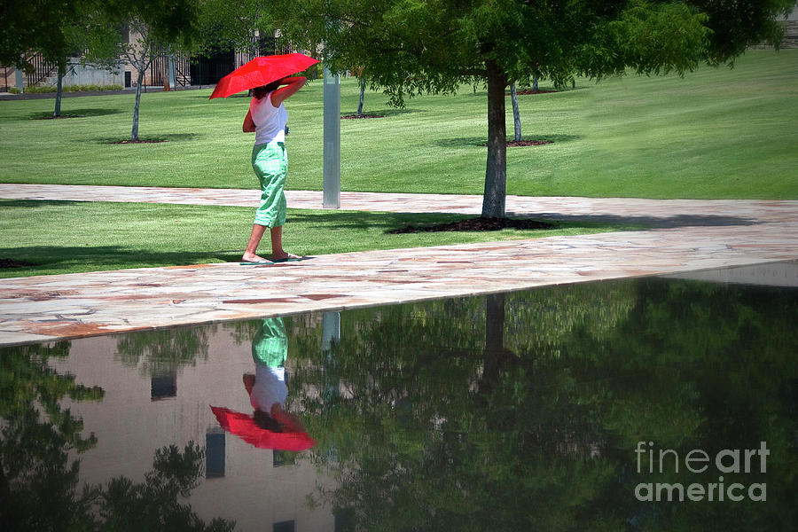 Oklahoma Photograph - Woman With The Red Umbrella by Tamyra Ayles