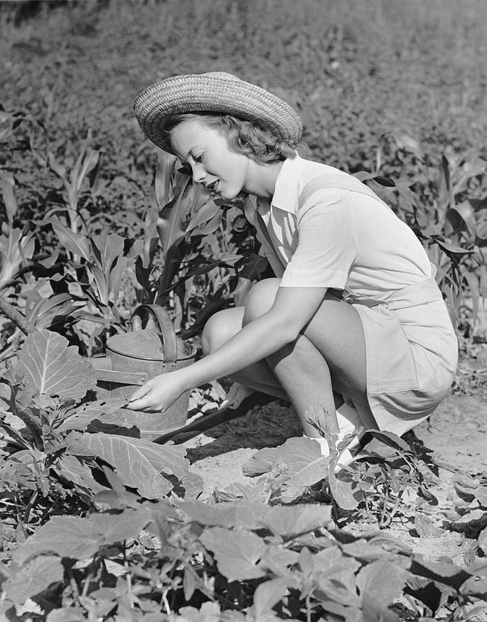 Adult Photograph - Woman Working In Garden by George Marks