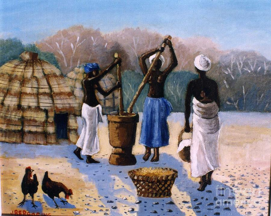 Huts Painting - Womans At Work by Jean Pierre Bergoeing