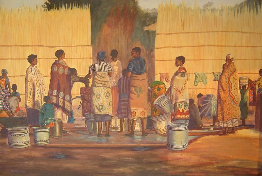 African Painting - Women At Bolehole by Nisty Wizy