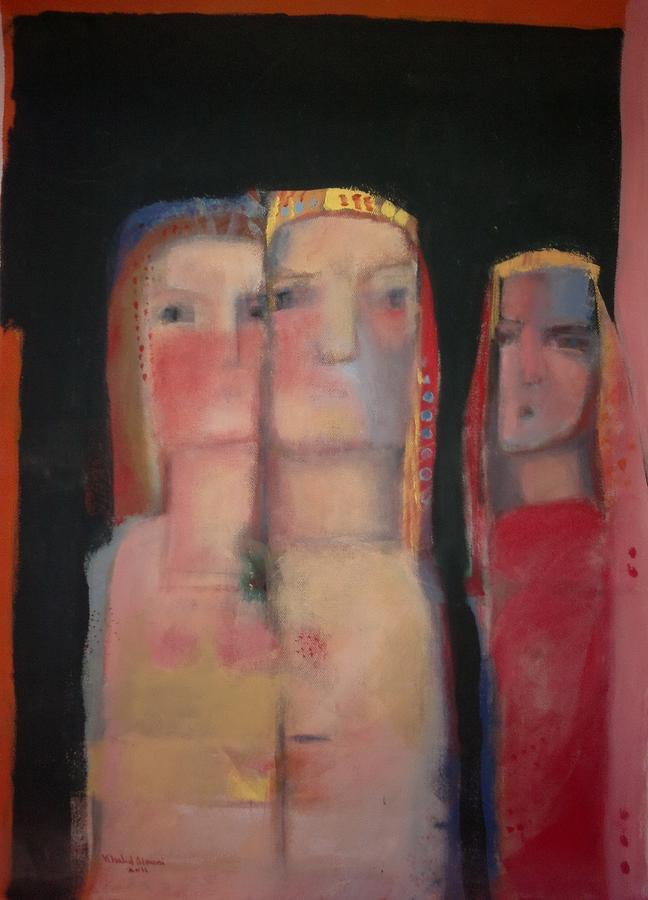 Figures Painting - women in a street II by Khalid Alaani