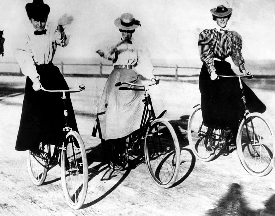 1900s Photograph - Women Riding Bicycles, 1900 by Everett