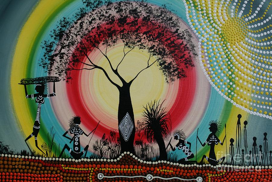 Women Under The Wisdom Tree Painting by David Dunn