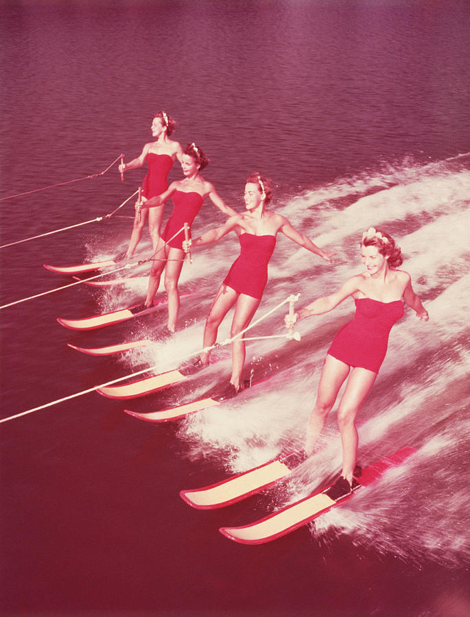 Adult Photograph - Women Water Skiing Parallel, 1950s by Archive Holdings Inc.