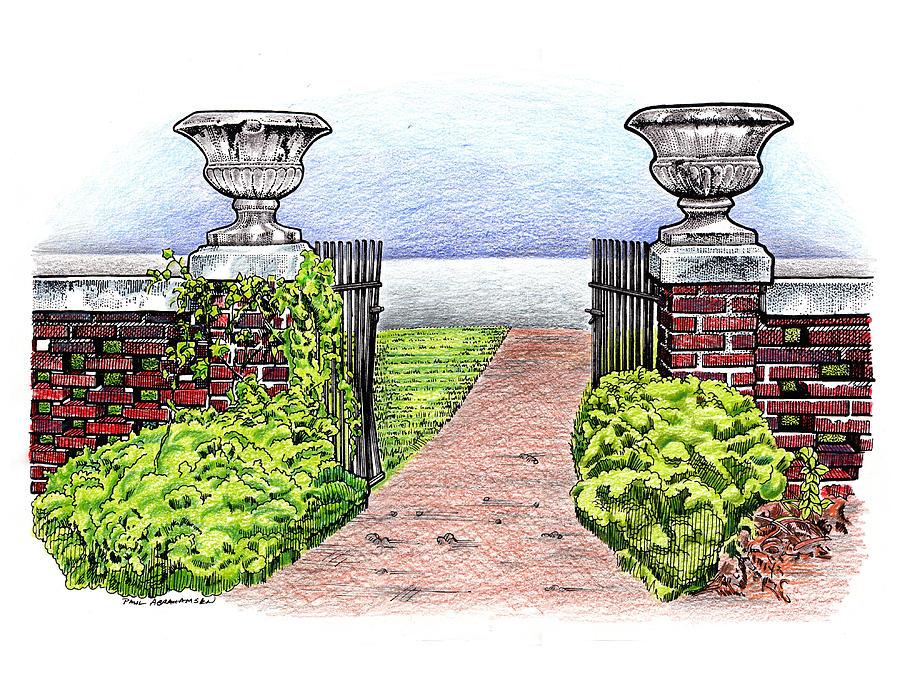 Brick Fence Drawing - Womens Club by Paul Abrahamsen