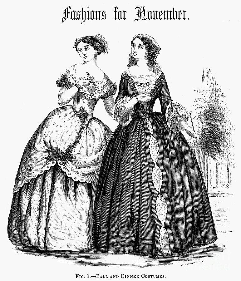 1851 Photograph - Womens Fashion, 1851 by Granger